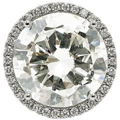 11.02 Carat GIA Round Diamond and Platinum Frame Halo Ring