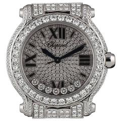Dazzling Chopard Diamond Set Montre Happy Sport Wristwatch in White Gold