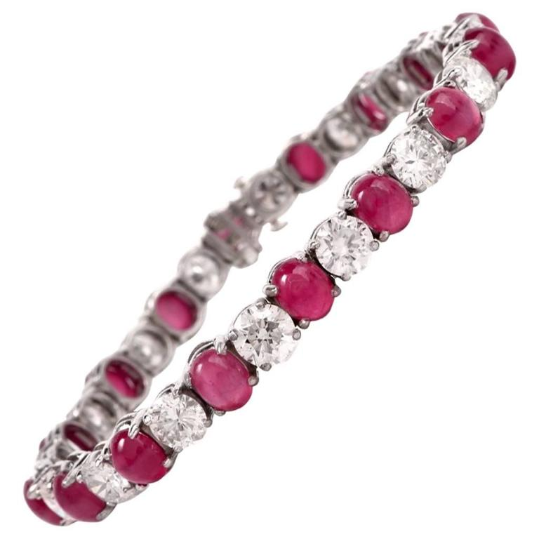 GIA Certified  Burma Ruby Diamond Platinum Bracelet