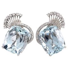 Retro Aquamarine Diamond Platinum Clip-Back Earrings