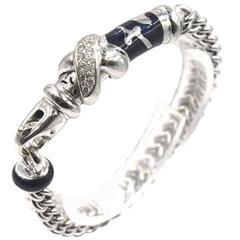 Soho Black Enamel Diamond Gold Link Bracelet