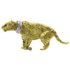Diamond Gold Panther Brooch Pin