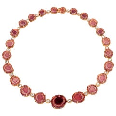 One of a Kind Watermelon Tourmaline Necklace in Gold with Diamonds