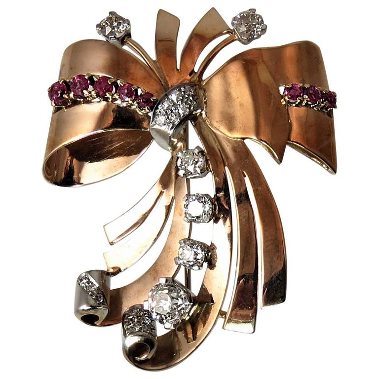 Fabulous Retro Ruby Diamond Rose Gold Pin