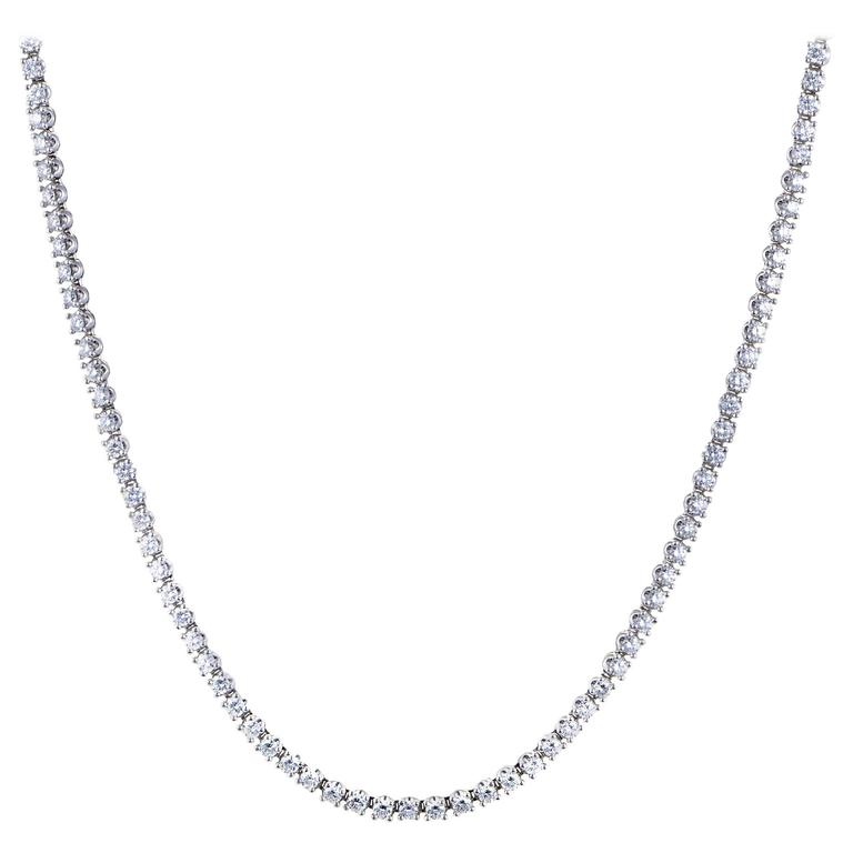 Bulgari Diamond White Gold Tennis Collar Necklace