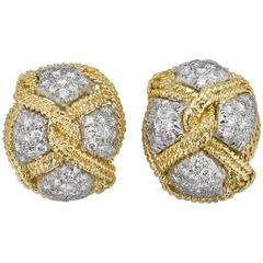 David Webb Diamond Gold Platinum Knot Motif Earrings