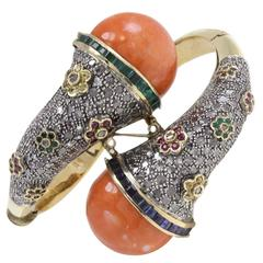 Luise Coral Emerald Ruby Sapphire Diamond Silver Gold Bracelet