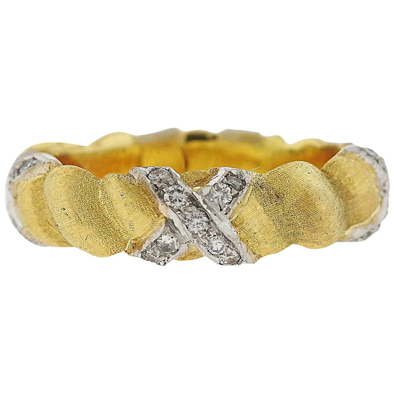 Buccellati Eternelle Diamond Gold X Band Ring