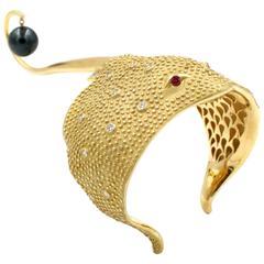 Tahitian Pearl Diamond Gold Cuff Bracelet