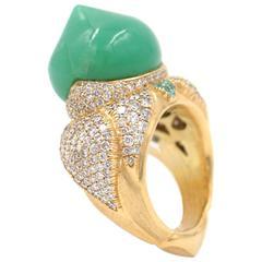 Australian Chrysophrase Paraiba Tourmaline Diamond Gold Taj Mahal Ring