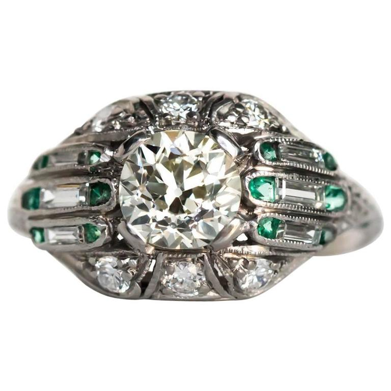 1920s Art Deco Emerald Diamond Platinum Engagement Ring
