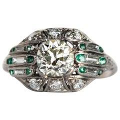 1920s Art Deco Emerald Diamond Platinum Engagement Ring