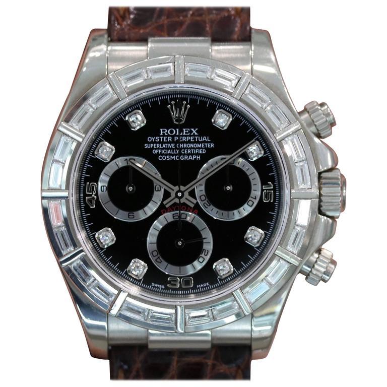 Rolex White Gold Diamond Black Dial Daytona Automatic Wristwatch Ref 116589