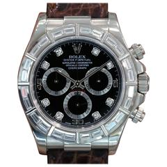 Rolex White Gold Diamond Black Dial Daytona Automatic Wristwatch Ref 116589