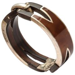 1970s Gucci Silver Carved Wood Enamel Bracelet
