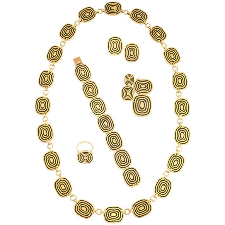 Patek Phillipe Five-Piece Modernist Gold Enamel Jewelry Suite For Sale