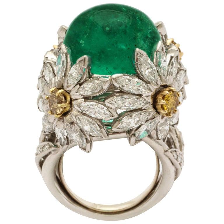 Hendryk Kaston Diamond Emerald Ring Convertible Fancy Yellow Diamond Dome