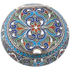 Russian Silver Gilt Multicolored Cloisonné Enamel Pill Box