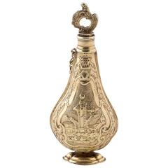 Early 18th Century Italian Cast Three Color Silver Gilt Scent Bottle