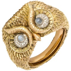 1960s Custom-Made Diamond Moonstone Gold Owl Bracelet