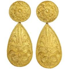 1970s Impressive Gold Pendant Earrings