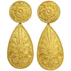 1970s Impressive Gold Pendant Earrings
