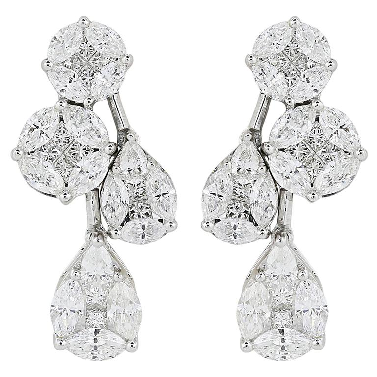 2.45 Carats Diamonds Gold Cluster Drop Earrings