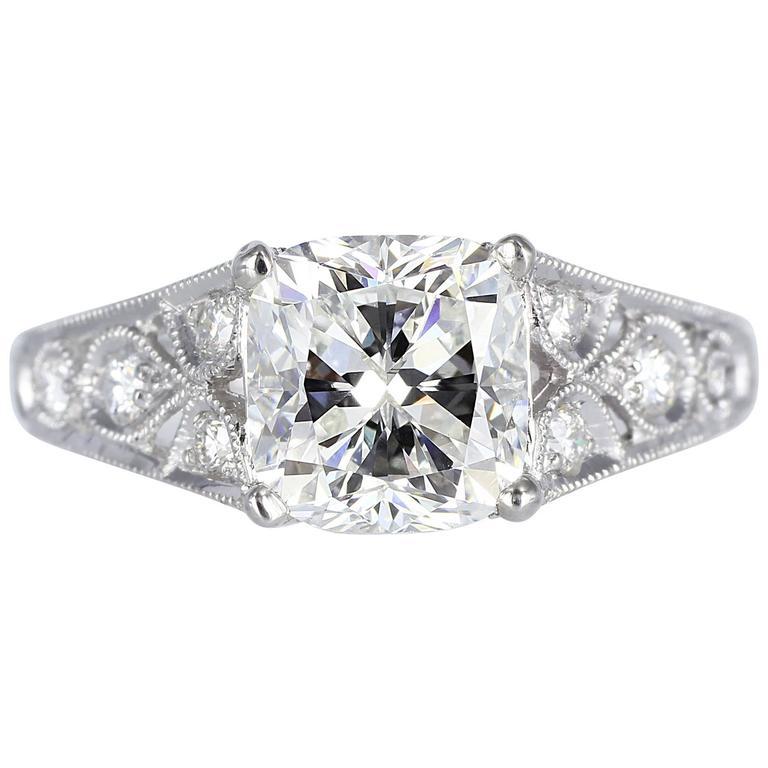 1.75 Carat Cushion Cut Diamond Filigree Platinum Ring