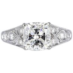 1.75 Carat Cushion Cut Diamond Filigree Platinum Ring