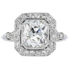 1.88 Carat Antique Cushion Diamond Halo Engagement Ring