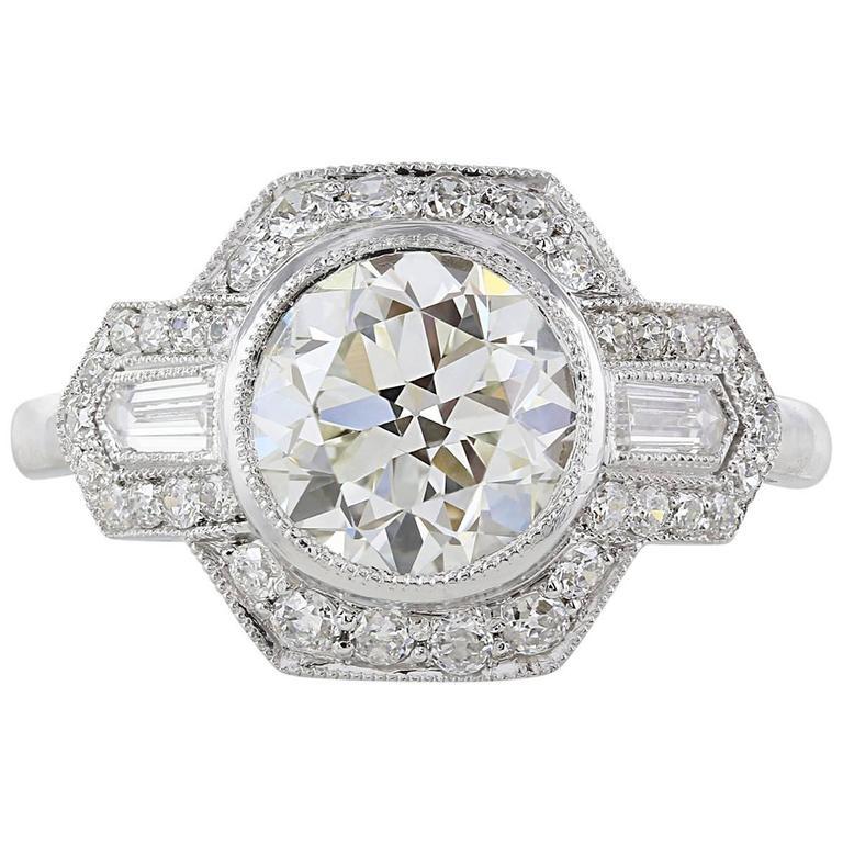 2.01 Carat GIA I/VS2 Old European Cut Diamond Platinum Ring