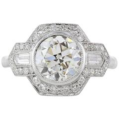 2.01 Carat GIA I/VS2 Old European Cut Diamond Platinum Ring
