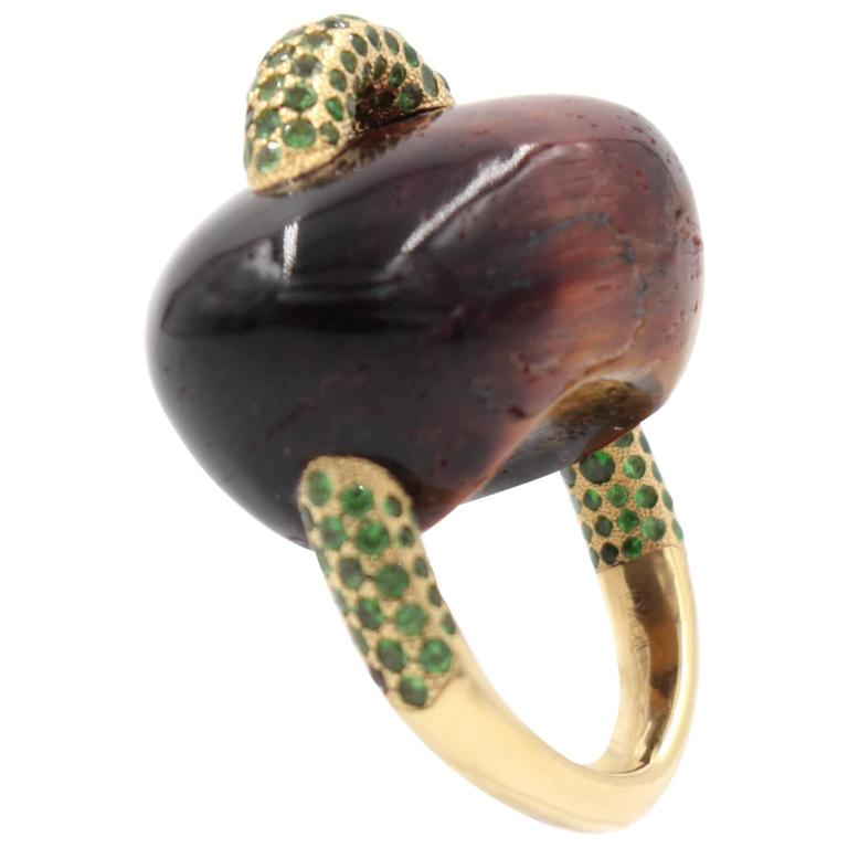 Tiger's Eye Tsavorite Gold Ring