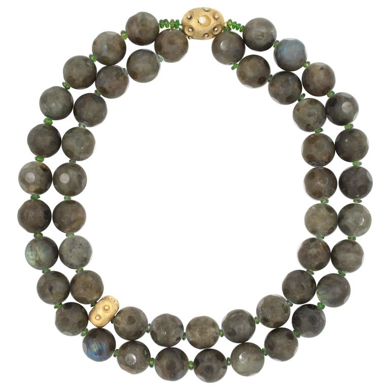Labradorite Diopside Diamond Gold Necklace