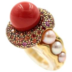 Coral Orange Sapphire Freshwater Pearl Gold Ring