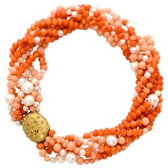 Pearl Sapphire Coral Gold Necklace