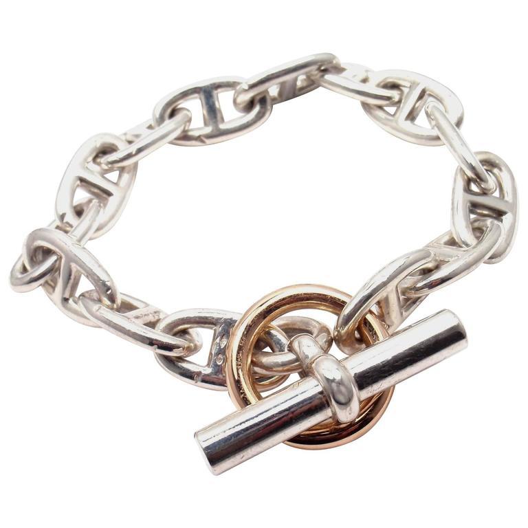 Hermes Chaine d'Ancre Sterling Silver Gold Link Bracelet For Sale
