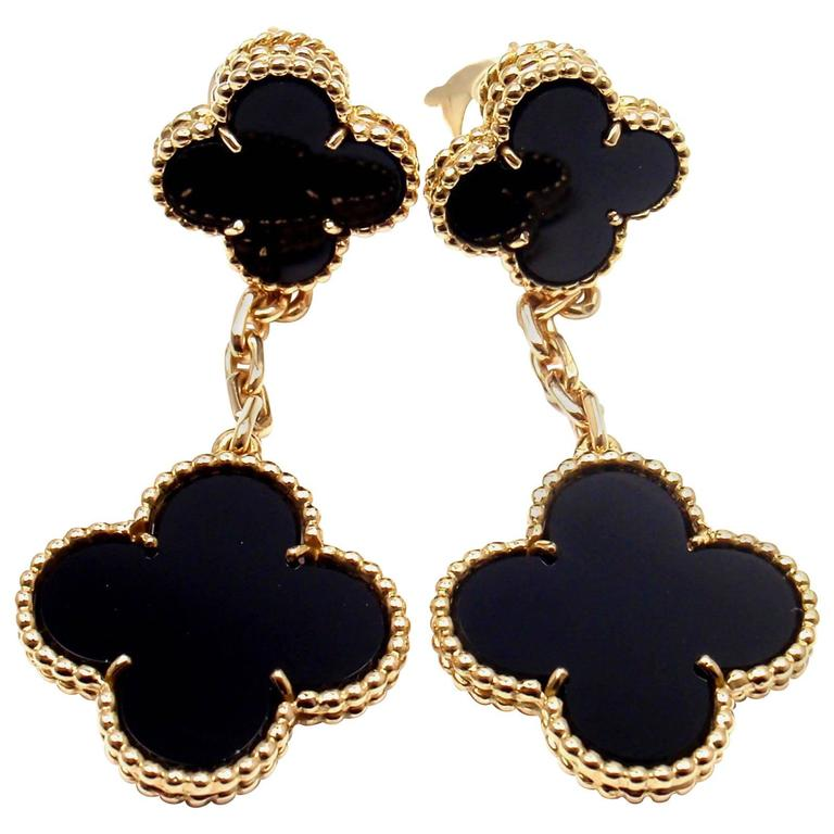 Van Cleef Arpels Black Onyx Magic Alhambra Gold Earrings For