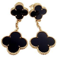 Van Cleef & Arpels Black Onyx Magic Alhambra Gold Earrings