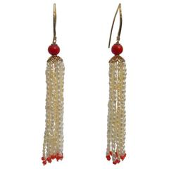 Marina J. Pearl and Coral Tassel Earrings with Gold Findings and Filigree Cup