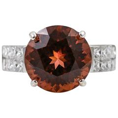 7.15 Carat Strong Pink Orange Tourmaline diamond gold Ring