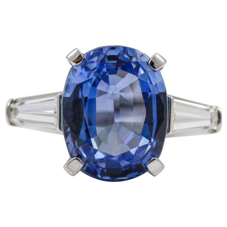 8.45 Carat Ceylon Sapphire Baguette Cut Diamond Platinum Ring