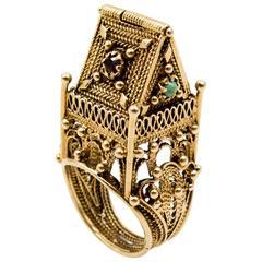 Unusual Garnet Turquoise  Gold Jewish Wedding Ring