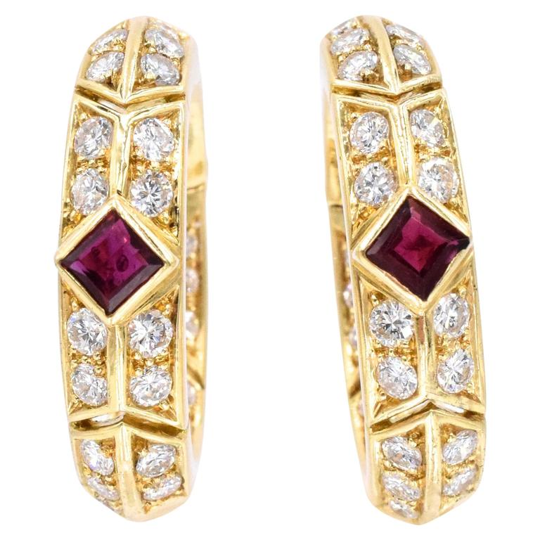 Van Cleef & Arpels Ruby Diamond Gold Hoop Earrings