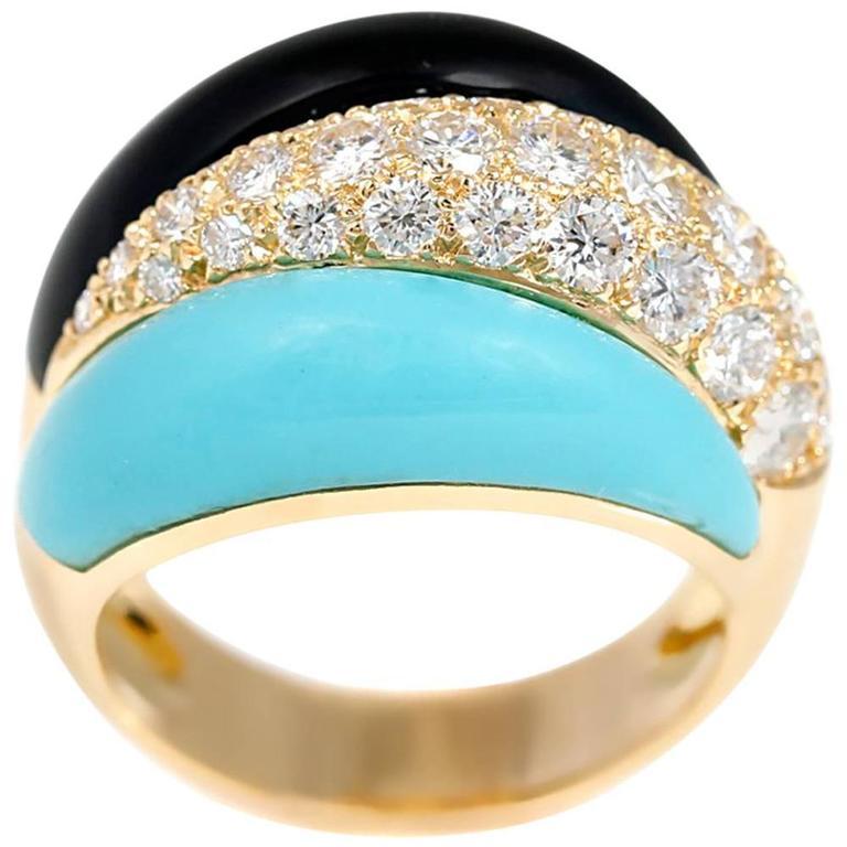Van Cleef & Arpels Onyx Turquoise Diamond Gold Bombe Style Ring