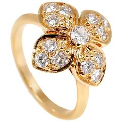 Van Cleef & Arpels Diamond Gold Flower Ring