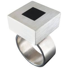Scandinavian Modern Hans Hansen Denmark Black Enamel Silver Ring