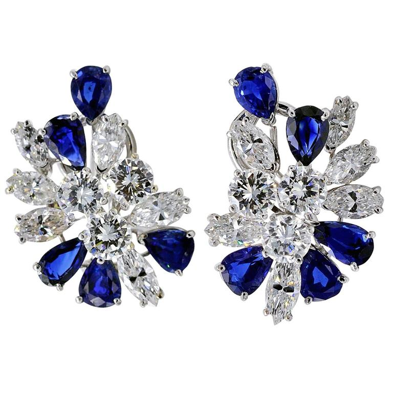 Missiaglia Diamond and Sapphire Clip-On Earrings