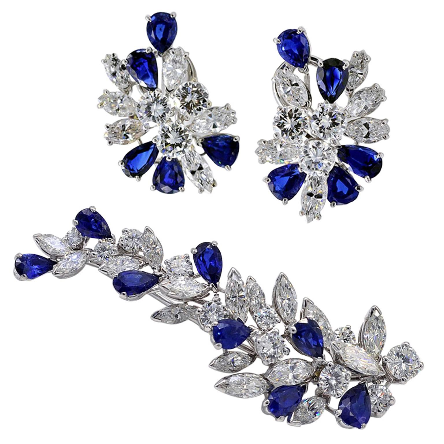 Missiaglia Sapphire Diamond  Earrings and Brooch Set
