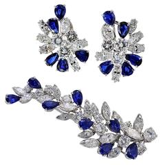 Missiaglia Sapphire Diamond Earrings and Brooch Set